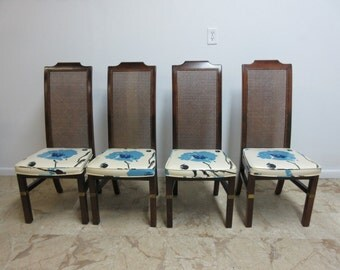 4 Mid Century Vintage Campaign Henredon Furniture Dining Room Side Chairs Set