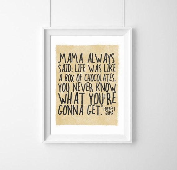 Forrest Gump Quotes Mama Always Said: Poster Quote Forrest Gump-life Was Like A Box...A3 Decor
