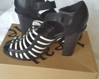 Beau +Ashe Meela Black & White Block High Heel Sandals