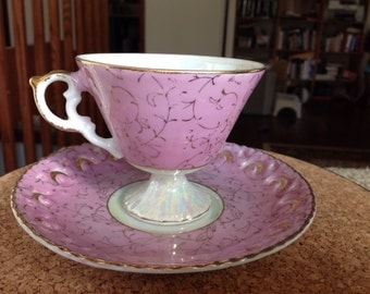 Royal Sealy Style teacup pink and Gold Lusterware