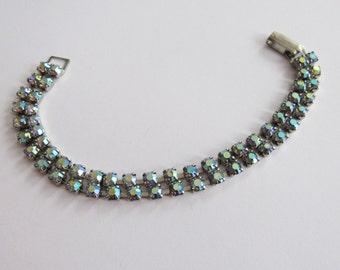 Dainty Double Row Aurora Borealis Rhinestone Bracelet