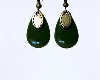 Olive green glazed sequin earrings