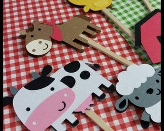 12 Barnyard Animal Cupcake Toppers, Farm Animals Cupcake Toppers
