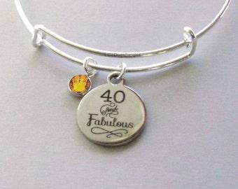 40 and Fabulous CHARM Bangle W/ Swarovski  Birthstone Crystal Drop Bangle /Happy Birthday Bangle - Gift For Her Under Twenty HB1