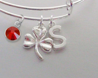 Three Leaf CLOVER Charm Bangle W/ INITIAL /  Birthstone  / Good Luck Charm  Irish Charm Bracelets Under Twenty / Gift For Her   IR1