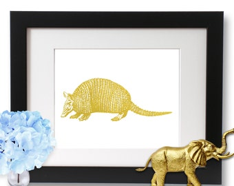 Gold Armadillo, Texas art, Armadillo Print, Gold Foil Print, Art Print, armadillos for women, nature print,
