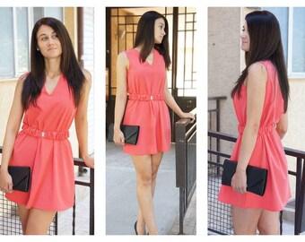 Dress with Belt / Womens Dresses / Comfortable Dress / Cute Dress / Dress / Short Dress / V-Neckline