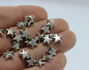 25 Pcs Antique Silver Tiny Puff Star Charms, 7.5 mm Small Little Twinkle Star Charms