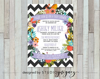 Floral Chevron Bridal or Baby Shower Digital Printable Invitation