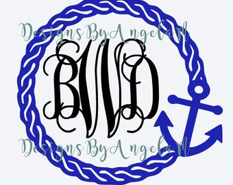 SVG  Rope Anchor Monogram Initials SVG Digital cutting file  Instant Download - Use on your cutting machine Vector File SVG  Dxf  Studio3