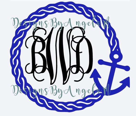 SVG Rope Anchor Monogram Initials SVG Digital Cutting File