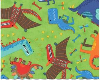 Dinosaurs Rawr Light Green - Lime - JURASSIC JAMBOREE collection by Abi Hall for Moda Fabrics - 35290 15