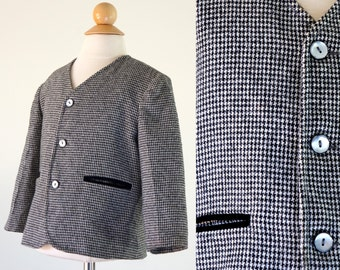 Vintage Houndstooth Boys Jacket / Boys size 4T / 1960's Black and White Houndstooth Suit Jacket