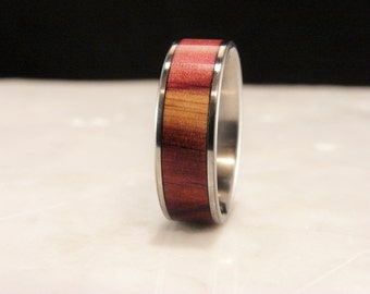Cedar wood inlay and Titanium ring, Cedar inlay ring, Cedar and titanium ring, wedding band with wood inlay, Eastern Cedar wood