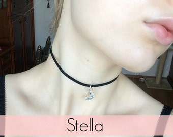 Stella black suede choker with moon pendant