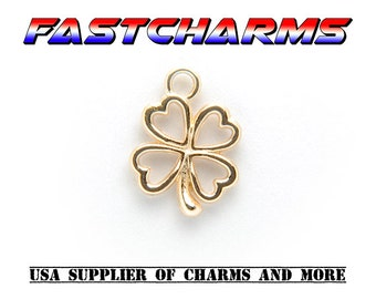 FOUR LEAF CLOVER Charms, Gold plated, 14x13mm,5/20 pcs, Irish charm, celtic jewelry, jewelry supplies,charm for bracelets,fastcharms (YB27J)