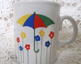 1980s Mug With Umbrellas. Red, Yellow, Green and Blue. Pretty Vintage Mug. Umbrellas and Flowers Mug.