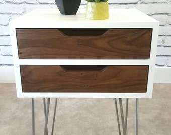 Mid-Century Modern, Nightstand, Bedside Table, White End Table, Walnut, Hairpin Leg, With Drawers