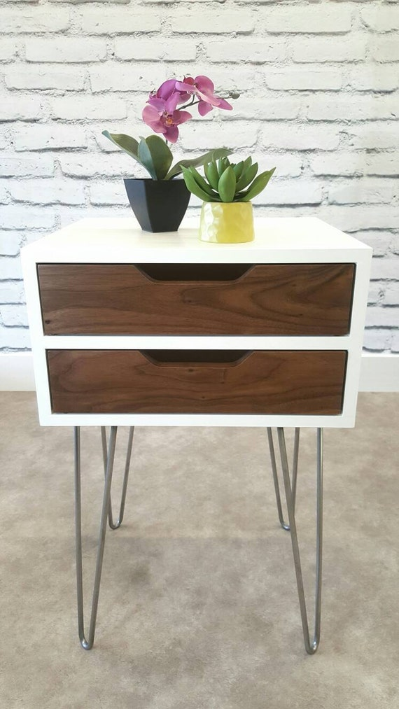 Nightstand Table: Mid-Century Modern Nightstand Bedside Table White End