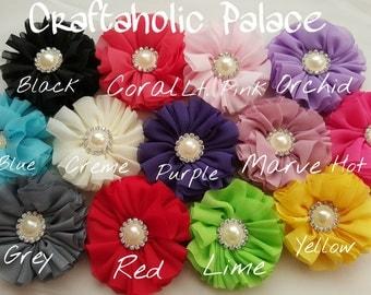 Chiffon Ballerina Flower... Ruffle Flowers... Pearl Rhinestones...
