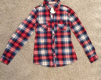 Red & Blue Plaid button up