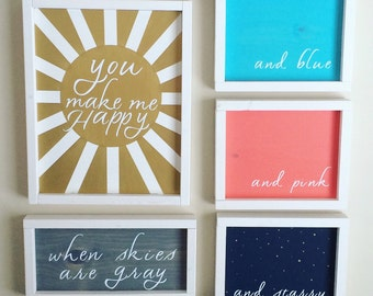 You make me happy when skies are gray - five piece set