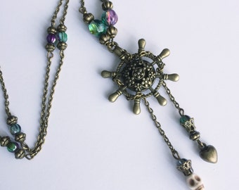 Steampunk nautical bar and skull necklace