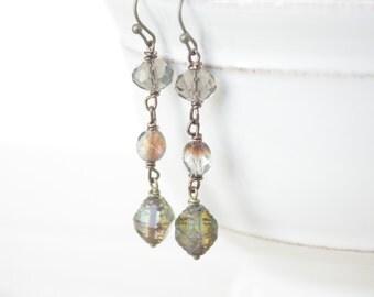 Boho Dangle Earrings - Green Earrings, Gray Grey Earrings, Faceted Earrings, Drop Earrings, Boho Jewelry, Bohemian Earrings, Boho Style