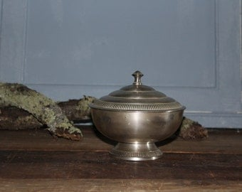 Vintage Decorative Bowl with Lid- Silver