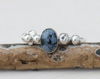 Snowflake Obsidian Silver Ring