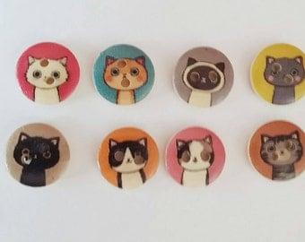 Cat Buttons x 8
