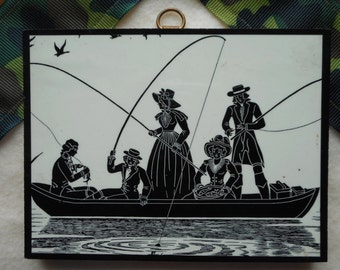 Small Vintage Print of 5 Victorians Fishing in a Boat Wall Art
