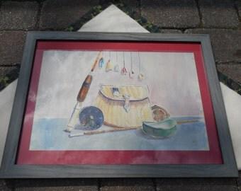 Fishing Flies,Vintage,Bamboo Rod,Fly Fishing Scene,Watercolor,Fishing Creel,Signed Painting,Fishing Decor,Wall Art, Wall Hanging, Camp Decor