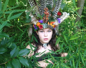 Nature Ram Horns Headdress