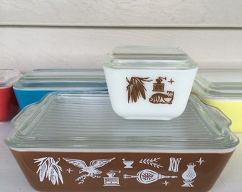 Vintage Pyrex 503 & 501-Fridge Dish - Early American pattern With lid - Large 1.5 QT and small 1 1/2 cup- #12