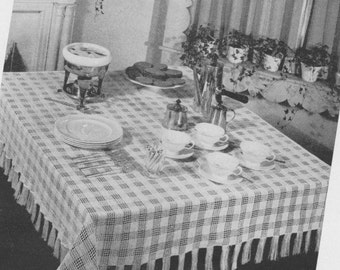 106 PDF Vintage Checkered Tablecloth Crochet Pattern, 55 x 55 Luncheon Cloth, Free Pattern, Retro Decorating, Checked Pattern, PDF Download