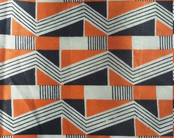 Vintage half apron, cotton apron,t,retro apron,orange, black white apron