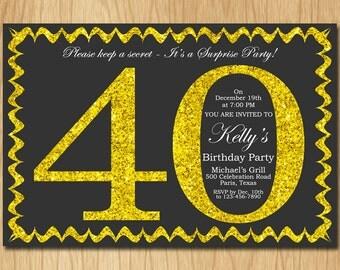 40th Birthday Invitation Gold Glitter Birthday Party Invite Adult Elegant Surprise Birthday Printable Digital ABGG40