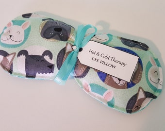 Puppy Faces on Teal Polka Dot- Eye Pillow - Hot & Cold Therapy Rice Pack