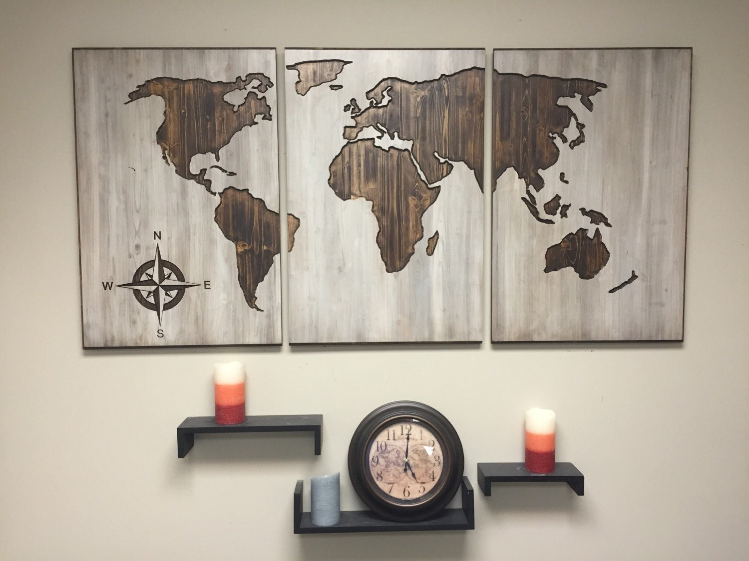 Wood world map wall art carved panel home decor