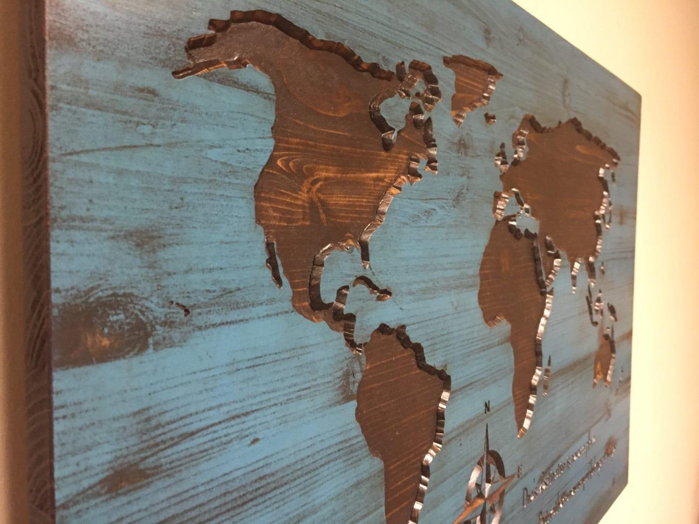 Wood World Map Wood Wall Art World Map Sign Inspirational