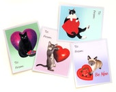 Cats with Hearts Printable School Valentine Cards