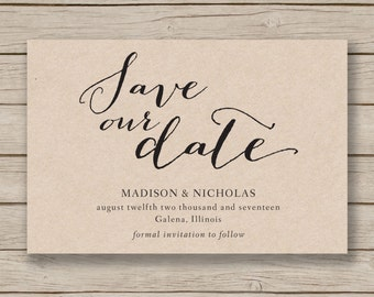Printable Save The Date Template - EDITABLE by YOU in Word - diy wedding  - rustic save the date card- print on Kraft