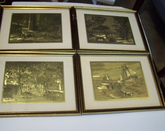 RECENTLY REDUCED, Vintage Set of 4 Gold Foil Etchings by Lionel Barrymore, Individually Framed, Vintage Artwork, Gold Etchings