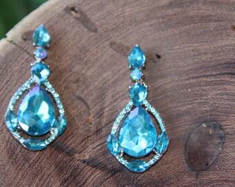 teal/aqua prom rhinestone earrings, teal pageant rhinestone earrings, teal blue rhinestone earrings