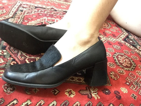 90s Black Horse Hair Leather Loafers with Heel