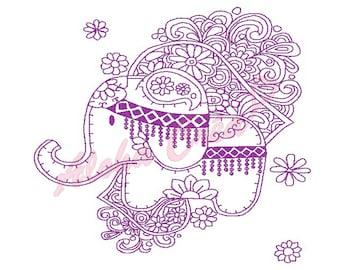 Machine Embroidery Designs Redwork Elephant Flower - Instant Digital Download