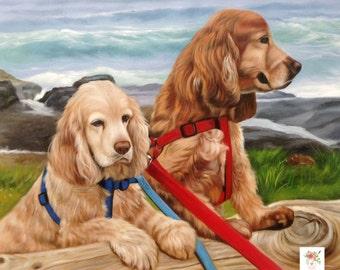 2 Dogs Custom Portrait.Custom Oil Portrait. Dog custom painting. Pet custom portrait. Dog Oil painting.Commission dog portrait. 7 sizes. USA