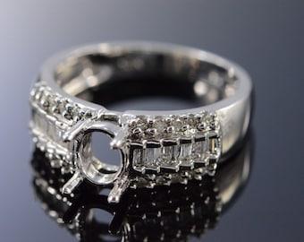10K 0.50 Ctw Diamond 8x6mm Semi Mount Engagement Ring Size 8 White Gold