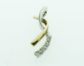 10K Diamond Accented Twisted Pendant Yellow/White Gold